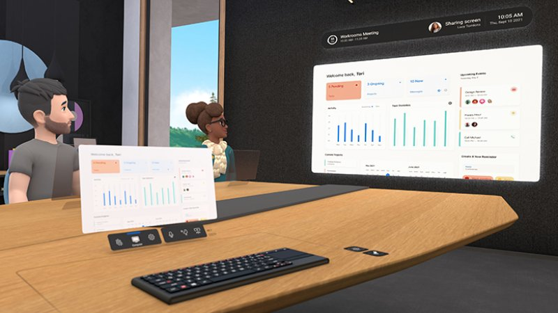 Dos trabajadores con sus avatares participan en una reunión virtual en Horizons Workrooms y miran un gráfico.